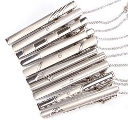 Silver Hinged Tie Clip Bars