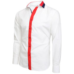 Men's White Multi Colour Collar Regular Fit Formal Shirt