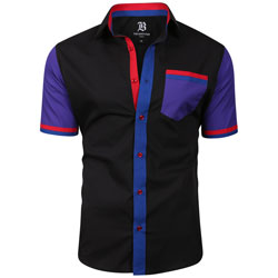 Men's Italian Style Short Sleeve Regular Fit Shirt Black