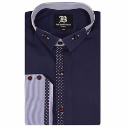 Men's Italian Style Navy Regular Fit Button Down Collar Formal Shirt