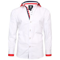 Men's Italian Style White Triple Collar Regular Fit Formal Shirt