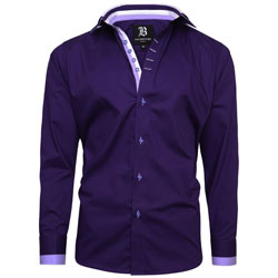 Men's Italian Style Purple Triple Collar Regular Fit Formal Shirt